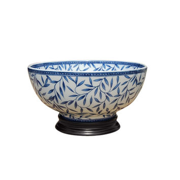 """Blue and White Porcelain Bamboo Leaf Motif Bowl with Base 12"""" Diameter"""
