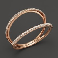 Diamond Double Row Band in 14K Rose Gold, .24 ct. t.w.