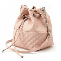 Dolce Girl Quilted Bucket Crossbody Bag (Pink)
