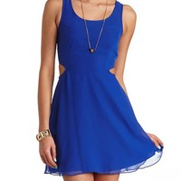 CHIFFON CUT-OUT SKATER DRESS