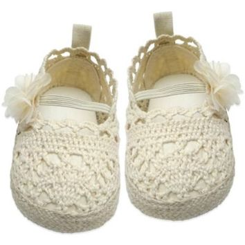 Rising Star Crochet Flower Espadrille Shoes in Beige