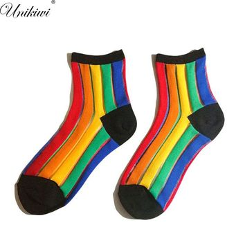 4 Colors.Women's Rainbow Stripes Socks.Ladies Girl's Vertical Stripes Transparent Thin Mesh Rainbow Socks Hosiery Gauze Sox