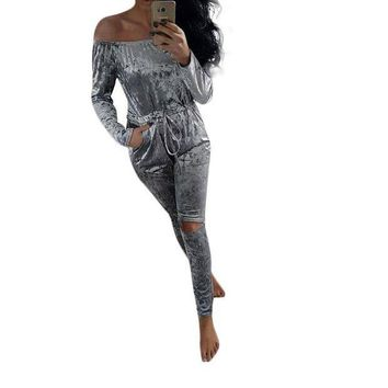 Women Velvet Jumpsuit Sexy Slah Neck Pleated Waist Hole Knee Ripped Long Sleeve Sheer Bodysuit Winter Rompers Womens Jumpsuit