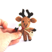 miniature reindeer, chrocheted christmas gift, amigurumi stuffed doll, reindeer caribou, little cute collectible deer, tiny doll, dollhouse