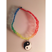 Multi-colored Yin and Yang Tattoo Choker