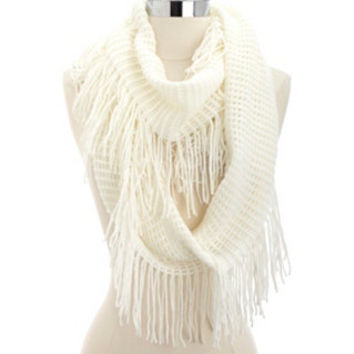 FRINGE WOVEN INFINITY SCARF