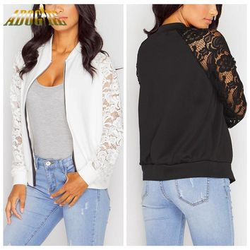 Bomber Jacket : Lace Sleeves Bomber Jacket