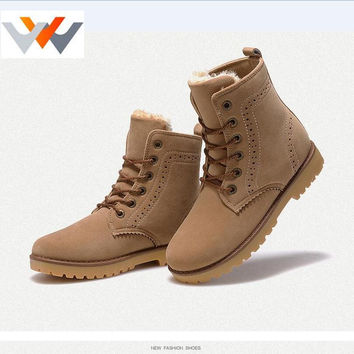 2016 Autumn Winter Brand Men Women Shoes Martin Boots Suede Leather Warm Snow Boots Outdoor Casual Timber Boots Botas Hombre