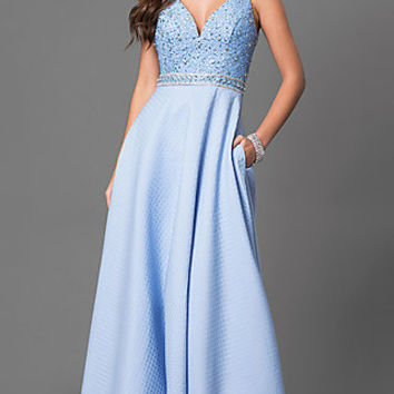 V-Neck Long Prom Dress with Embellished Bodice