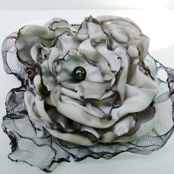 Wedding Hair flower, Grey Flower Accessory, Hair Clip or Brooch, Made To Order