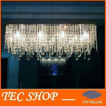 JH New Modern Rectangular Crystal Chandeliers K9 Crystal Ceiling Lamp Lighting Fixture Restaurant LED Lighting E14 Free Shipping