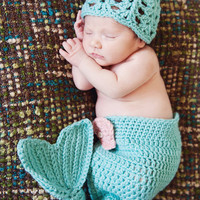 Baby Mermaid Diaper Cover and Hat Photo Prop by CraftyKsCrochet