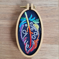 Feather Mini Hoop Statement Embroidery Necklace Brooch Rainbow Unique Individual Dandelyne