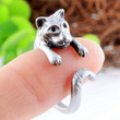Silver Plated Tiger Shaped Adjustable Ring Vintage korean Style Women Rings Jewelry (Color: Silver)