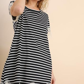 Umgee Striped with Lace Dress