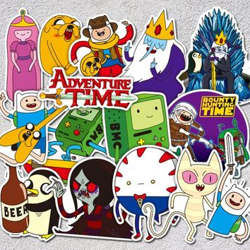 AQK 29Pcs/Lot Adventure Time Stickers PVC American Cartoon Funny Sticker For Skateboard Luggage Laptop Guitar Car Styling Decals