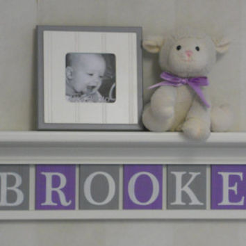 "Unique Baby Gifts Purple Gray Baby Girl Nursery Decor 30"" Linen White Shelf - 8 Wood Letter Lilac Baby Name Signs - BROOKE with Butterflies"