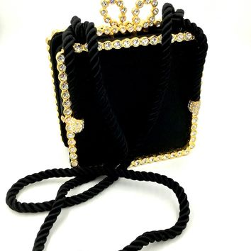 Vintage KENNETH JAY LANE Evening Bag Purse Black Satin Rhinestone Hand Bag Purse