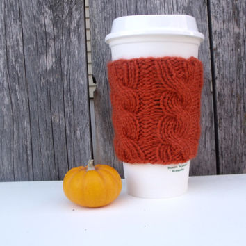 Coffee Cup Sleeve, Coffee Mug Cozy - Cable Knit Coffee Cup Cozy in Pumpkin Orange