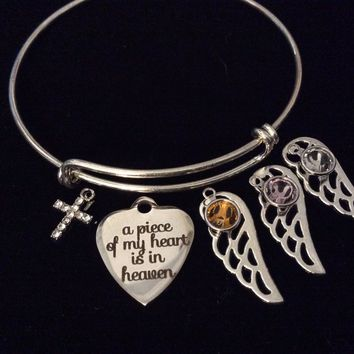 Custom Nov June April Birthstones A Piece of My Heart is in Heaven Expandable Charm Bracelet Adjustable Wire Bangle
