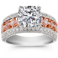 Engagement Ring - Cushion Diamond Two Tone Rose and White Gold Filigree Engagement ring - ES851CUWRG