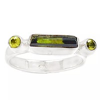 Green Tourmaline & Peridot Linear Sterling Silver Ring