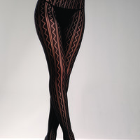 Black Nylon Zig Zag Striped Pantyhose