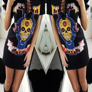 New Women Multicolor Skull Print Cut Out Lace-up Short Sleeve Casual T-shirt Mini Dress
