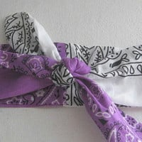 Pin Up Bandana, Knotted Bandana, Purple and White, Women and Teens, Girl Boho, Hippie, Chic Bohemian Bandana RockaBilly HairBand