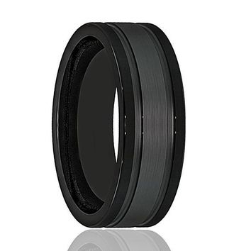Men's Black Tungsten Wedding Band With Double Groove Brushed Center 8mm