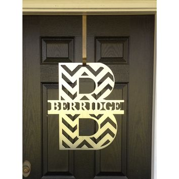 THE RACHEL: Modern Chevron Monogram Front Door Wreath
