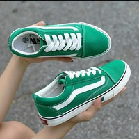 Vans Shoes Green Classic time skateboard shoes canvas shoes old school style shoes