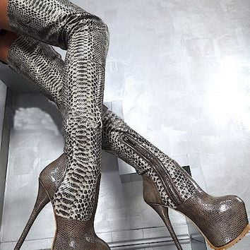 Hot selling python leather 16 cm high hell over-the-knee long boots platform high quality stiletto heel thigh high shoes