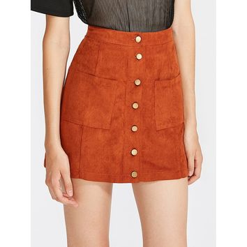 Patch Pocket Button Up Suede Skirt