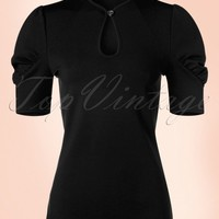50s Dita Keyhole Top in Black