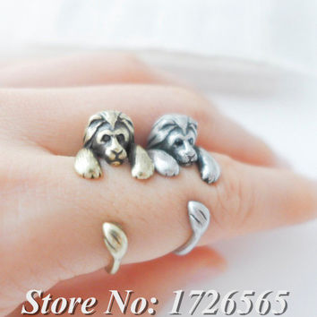 1Piece Vintage Silver Boho Chic Brass Knuckle Lion Anel Ring Punk Big Cat Anillos Animal Bague Femme Rings For Women Men Jewelry