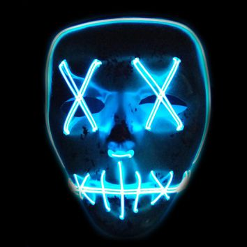 EL Wire Horror Mask LED Light Up Flashing Skull Mask Skeleton Halloween Rave Party  Concert Scary Party Favor Theme Cosplay