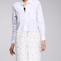 White Long Lace and Cotton Shirt with Flower Design