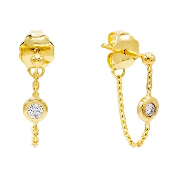 Diamond Chain Stud Earring 14K