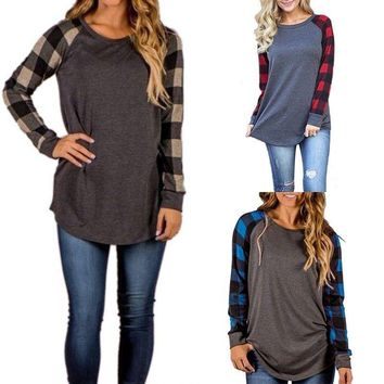Lady Women Long Sleeve Plaid Shirt Tops Crew Neck Casual Cotton Pullover Blouse