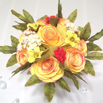 Handmade paper filter bouquet in yellow with Rose color tipped Roses, Vintage themed wedding bouquets with dried flowers and silk leaves