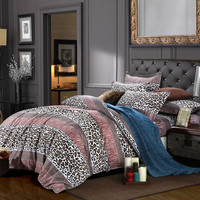 DISCOUNT!!2016 reactive printing bedclothes new 3D leopard home textiles set duvet cover bedsheet pillowcases queen size.