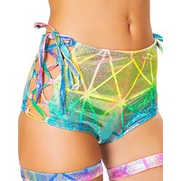 Laser Multi High-Waist Side Lace-Up Booty Shorts