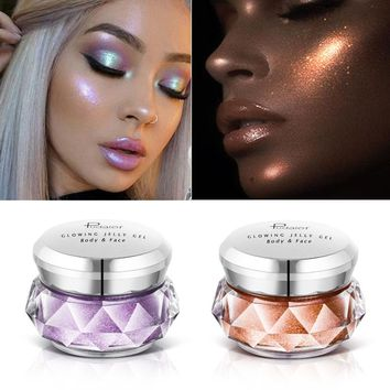 Face Highlighter Jelly Gel Mermaid Eyeshadow Glow Body Glitter Festival Makeup iluminador Gold Liquid Highlighter Pink Bronzer