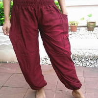 Burgundy Red Casual Pants Cotton Classy Boho Yoga Beach Clothing Hippie Massage Rayon pants Gypsy Clothes Batik Women Tribal Plus Size Beach