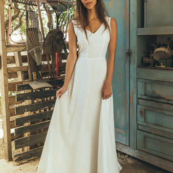 A line wedding dress boho, Medieval wedding dress, Country wedding dress, korean wedding dress, Wedding dress a line, Moonflower offwhite