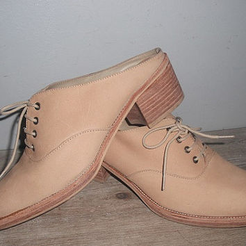 Vintage Tan Suede Leather OXFORD Mules .. Size 7 Lace Ups heels clogs