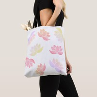 Colorful lotus flowers tote bag