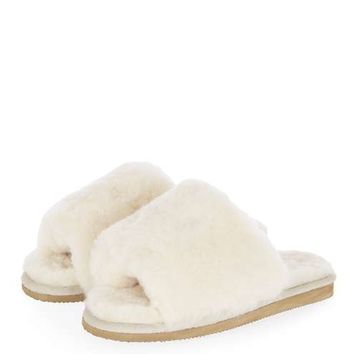 Cream Sheepskin Sliders