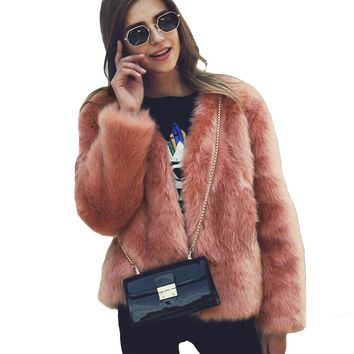 2018 Women Winter Fur Coat Long Sleeve Faux Fur Outerwear Ladies Short Style Jacket Fluffy Warm Overcoat Overwear fur jacket